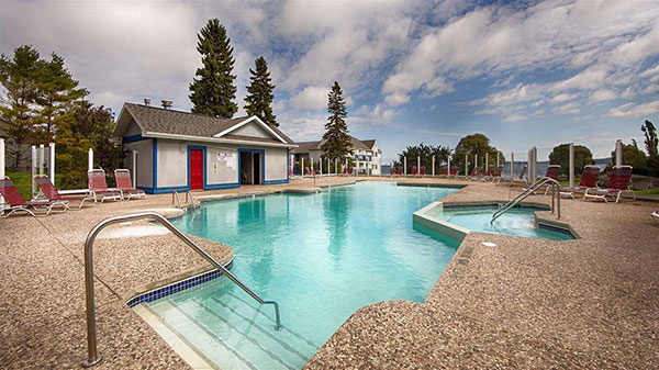 our st. ignace hotel features an indoor and outdoor pool